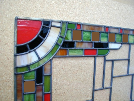 art deco cabinets stained glass detail