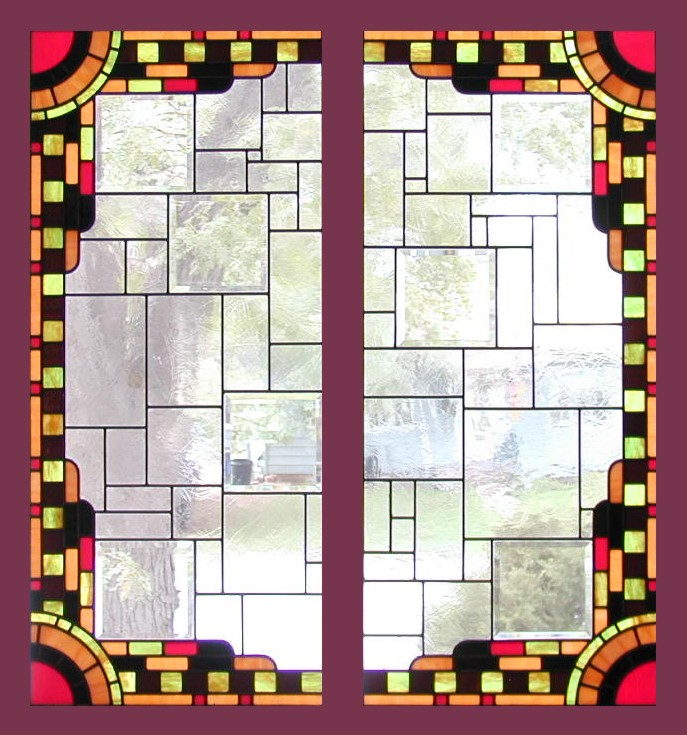 art deco cabinets stained glass