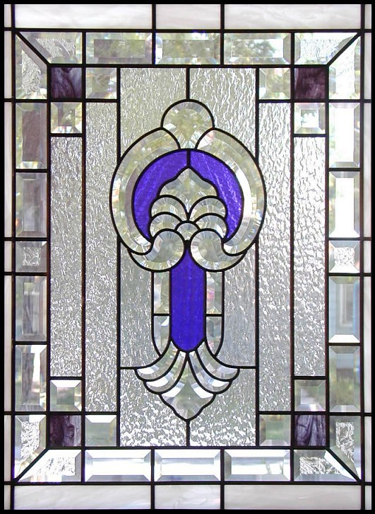 beveled and stained glass window