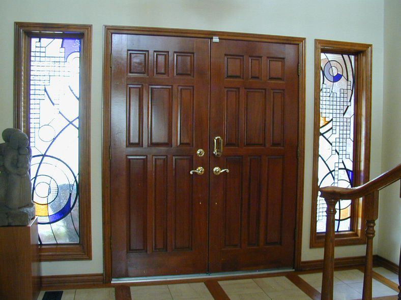 beveled glass entry with colored glass