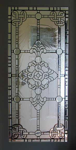 beveled glass in a pocket door