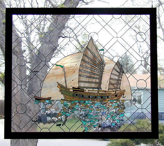 Chinese junk stained glass