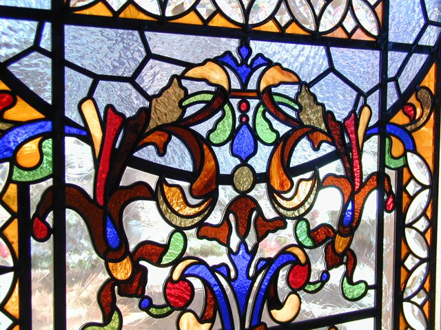 detail of intricate stained glass