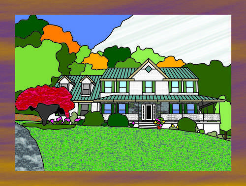 my home in stained glass,architecture depicted in stained glass,a house depicted in stained glass