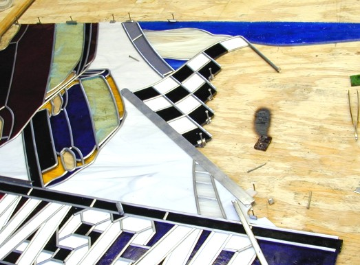 nascar stained glass,nascar art,automotive art in stained glass