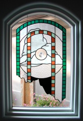 odd shape stained glass