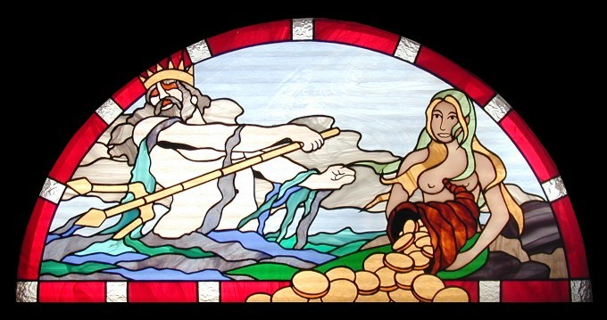 poseidon stained glass