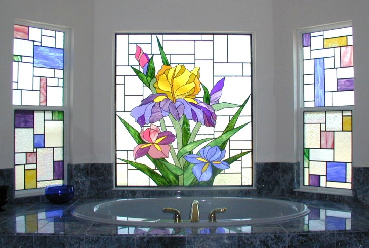 totally private stained glass,master bathroom stained glass
