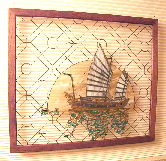 asian stained glass,chinese junk stained glass,chinese sampan stained glass