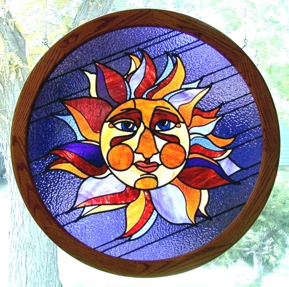 sun stained glass,stained glass gift
