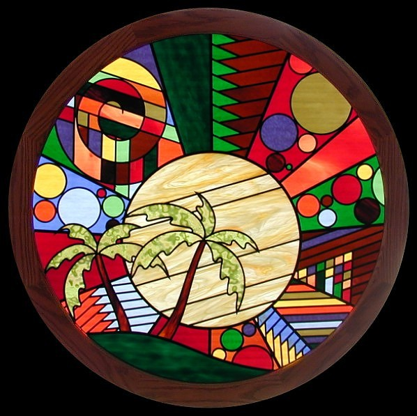 sunset stained glass