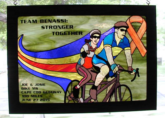 tandem bicycle stained glass